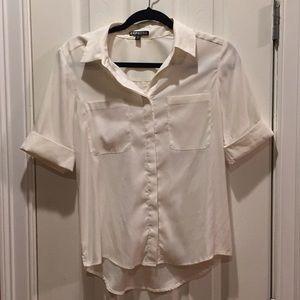 Off white short sleeve blouse